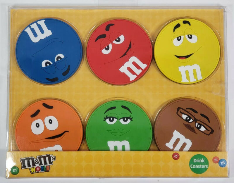 m&m's World Drink Coasters 6pk Red Orange Yellow Blue Green Brown, Mars 2016