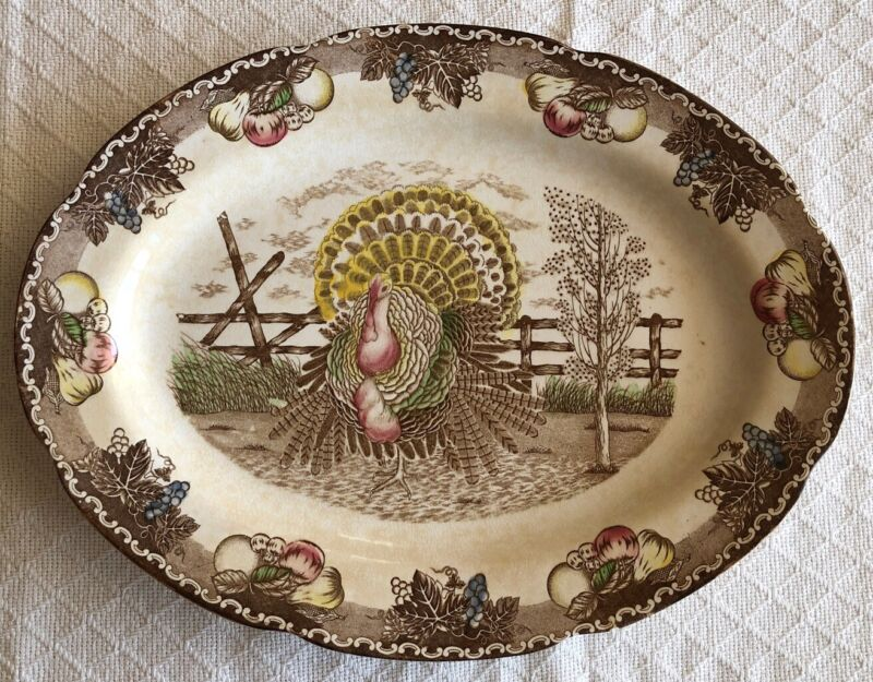 King Tom Turkey Platter Thanksgiving Ironstone Hand Decorated Antique EUC