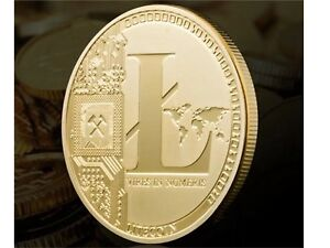 Gold Plated Physical Litecoin Collectible Golden Iron Miner Coin