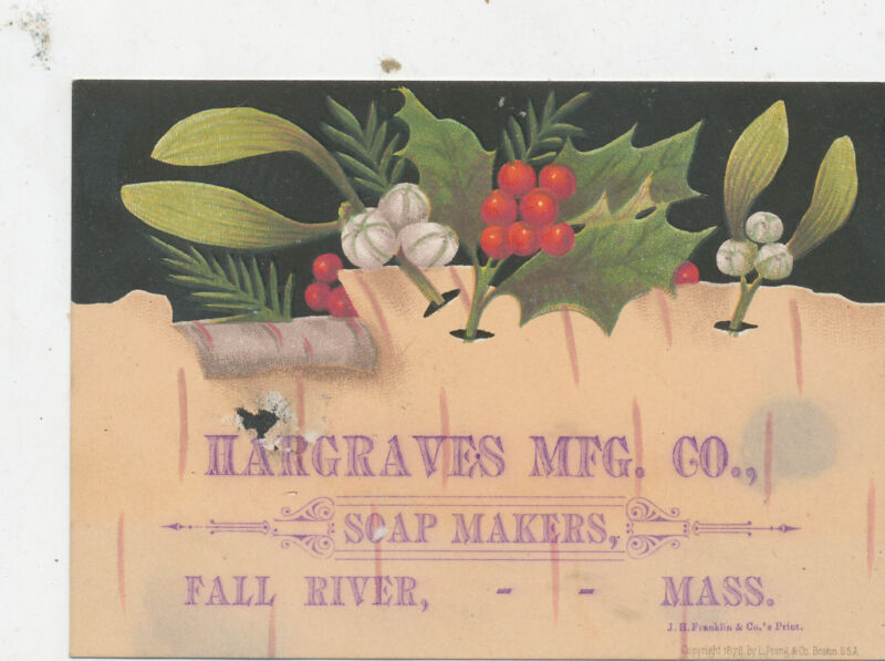 D2527   VICTORIAN TRADE CARD HARGRAVES  SOAP MAKERS FALL RIVER MASS