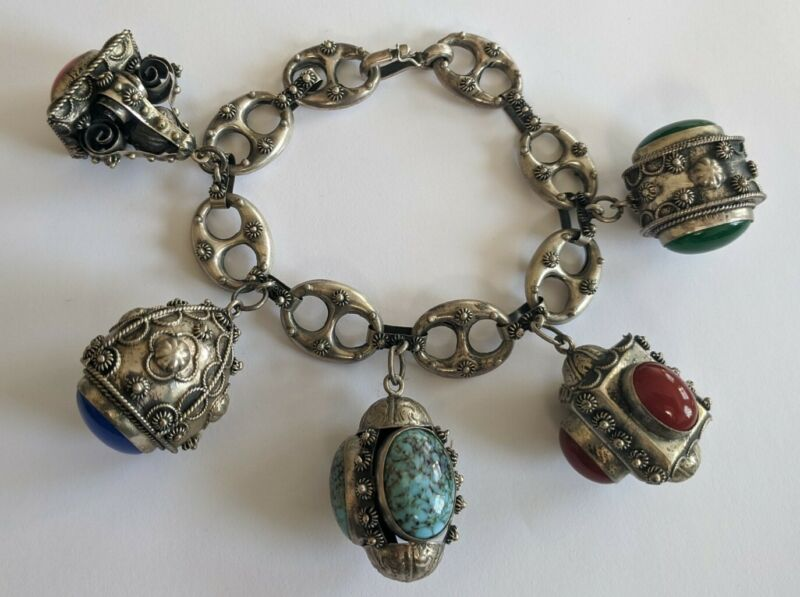 Antique Etruscan 800 Silver Multi Stone Fob Bracelet