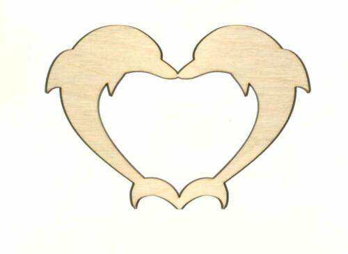 Dolphin Love Unfinished Wood Shape Cut out D11695 Crafts Lindahl Woodcrafts