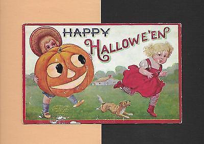 BOY Frightens GIRL With Huge JOL, DOG On Spooky Vintage HALLOWEEN Postcard