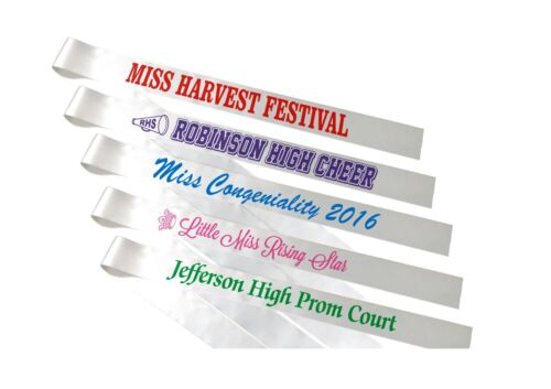 8 Custom Printed Pageant Sashes - All alike - Free Shipping