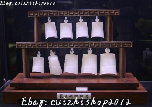 """17"""" China white jade carving ancient Seven Bell Horologe Timepiece bells set"""