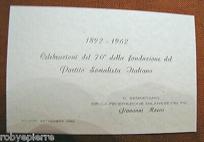 biglietto d'invito 1962 celebrazione 70° fondazione PARTITO SOCIALISTA ITALIANO