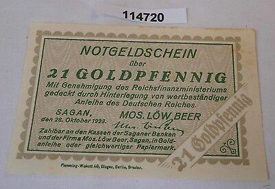 21 Goldpfennig Banknote wertbeständiges Notgeld Stadt Sagan 26.10.1923 (114720)