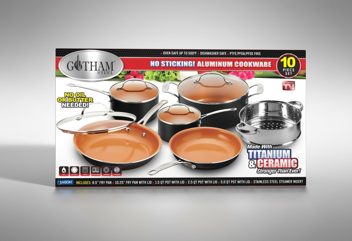 Gotham Steel 10-Piece Kitchen Nonstick Frying Pan & Cookware Set - 4 Colors -NEW