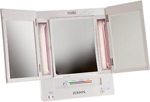 Jerdon 5x Magnification Tri Fold Lighted Makeup Vanity