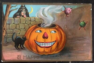 Halloween 1910 Movie (1910 Brooklyn NY Usa Picture Postcard PPC Cover Happy)