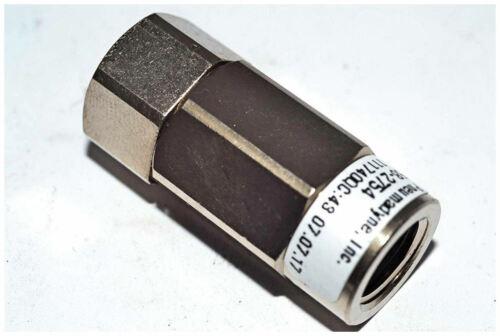 "1/8"" FNPT SS Pneumatic Check Valve (.5 Psi Crack/125 Max) Pneumadyne 58-2754"