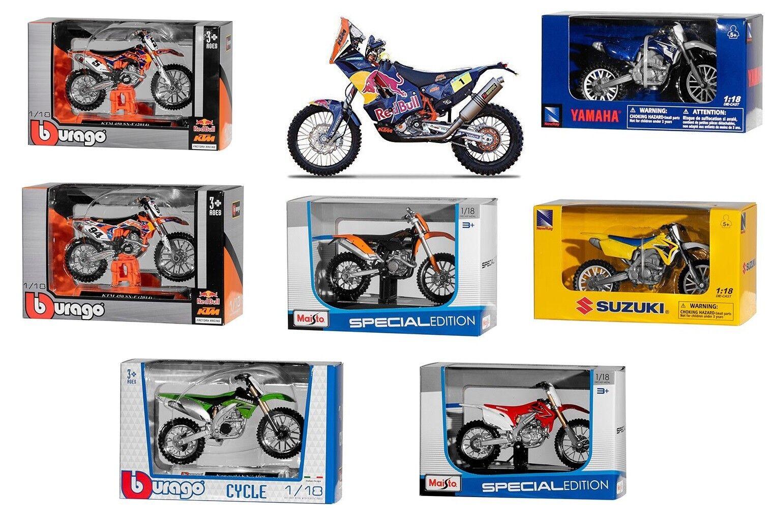 1:18 KTM Husqvarna Kawasaki Honda Motorrad Motocross Modelle Spielzeug MotoGP