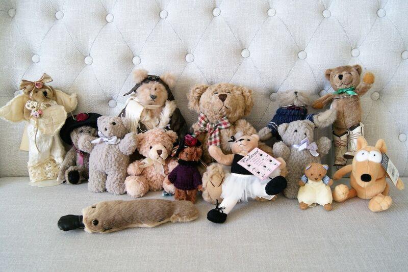 Lot 16 Vintage Teddy Bears Stuffed Plush Boyds Russ Berrie North American Gund