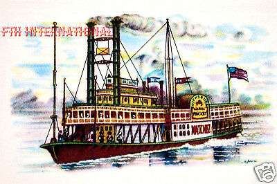 W07 ~ Mississippi River Boat Natchez Paddle Wheeler, 6 Ceramic Decals Steam Ship, used for sale  Shipping to Canada