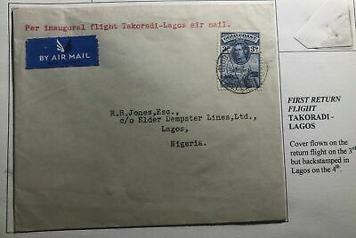 1939 Takoradi Gold Coast First Flight Airmail Cover FFC To Lagos Nigeria