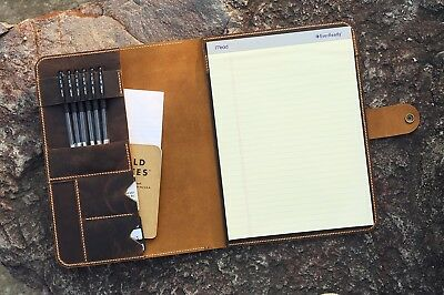 Vintage Leather Business Portfolio Folder Holder For 8.5 X 11.75 Letter Size