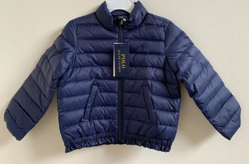 NWT Polo Ralph Lauren Toddler Girls Ruffled Quilted Down Jacket Navy Size 2/2T