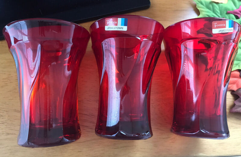 """3 Fostoria Jamestown Glass Red Tumblers NOS Very Scarce! Never Used W Tag 5.25"""""""