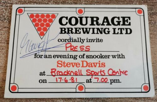 Steve Davis Signed Invitation to Snooker event at Bracknell Sports Centre, 1981