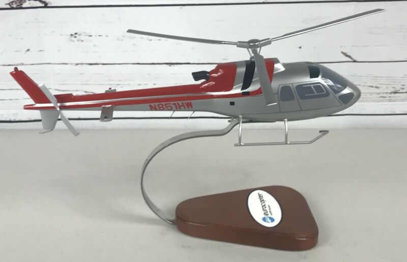 Eurocopter AS-350 Helicopter 1 of a Kind Large Wooden Model Custom Chopper Rare