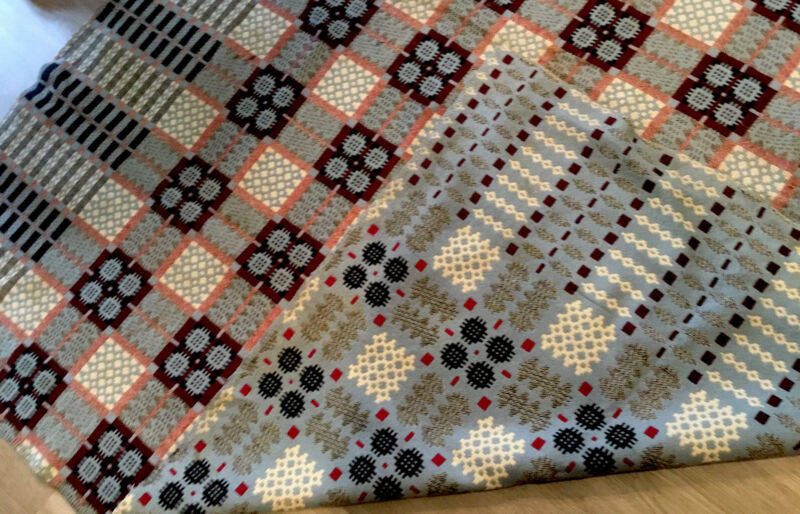 Antique Wool Coverlet, Geometric Design, Blue, Navy Blue, Cranberry, Ivory