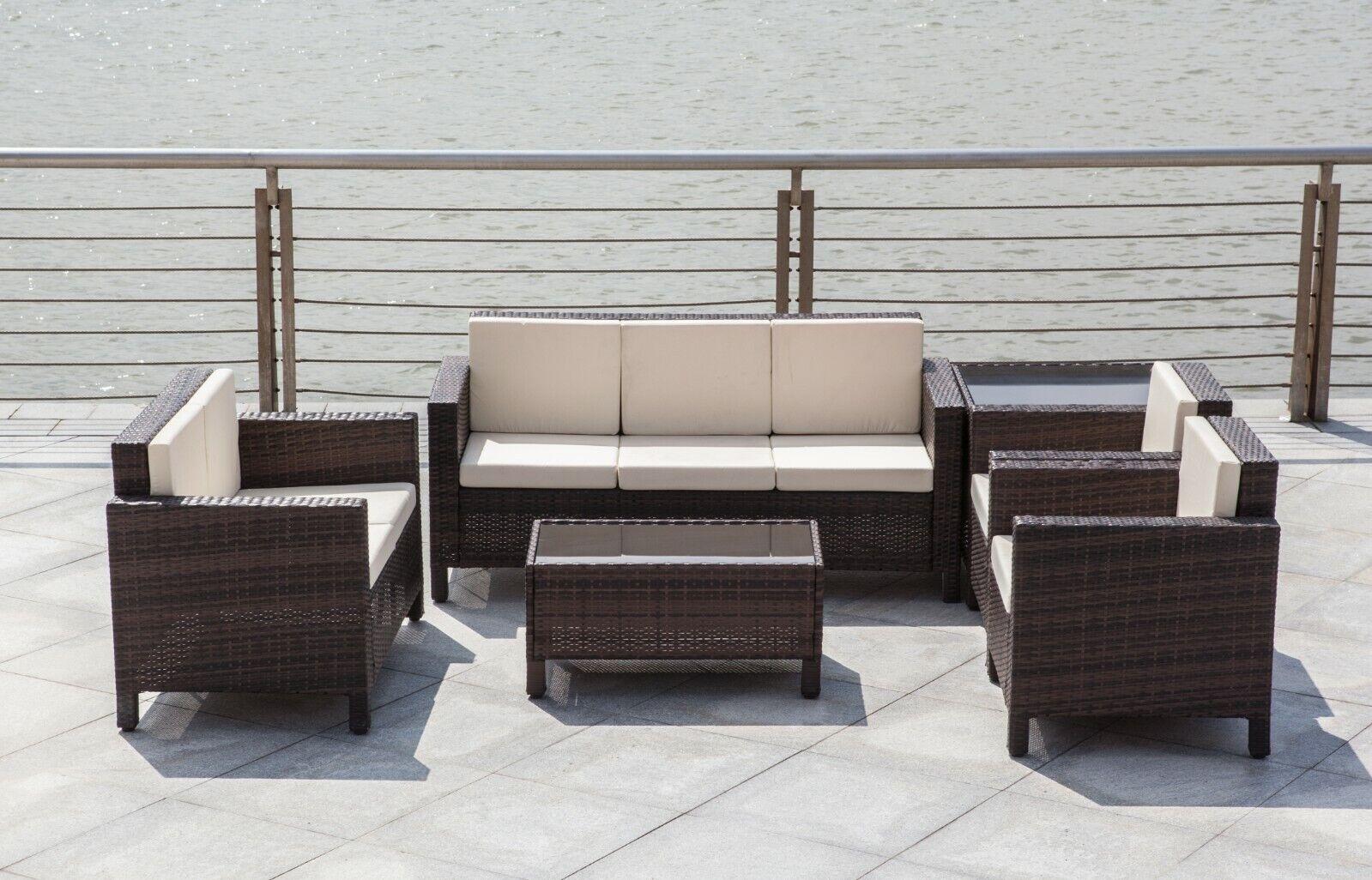 Garden Furniture - Rattan Garden Furniture Lounge Set Black Brown Outdoor Sofa Chair Corner Patio