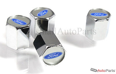 (4) Ford Blue Oval Logo Chrome ABS Tire/Wheel Stem Air Valve CAPS Covers set