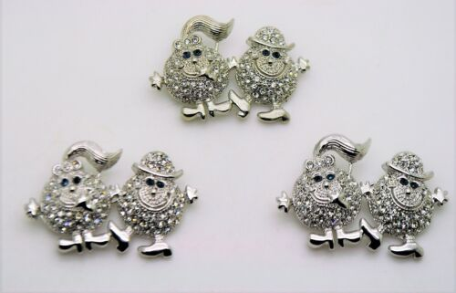 3 pc happy face man/girl style siver color fashion jewelry Brooch Pin lot #D251