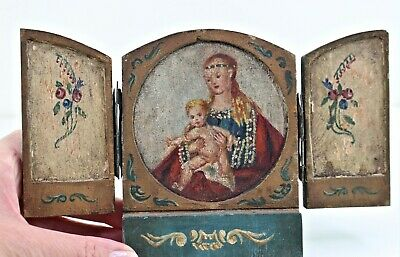 antique primitive religious icon triptych hand-painted wood Christian