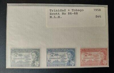 TRINIDAD & TOBAGO STAMPS • MLH 1958 Scott# 86-88 • W. INDIES FED. 99¢ LOW START