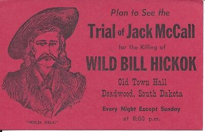 TRIAL OF JACK McCALL FOR KILLING WILD BILL HICKOK - 1964 POSTCARD