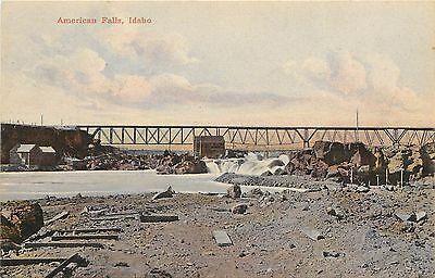 1907 1915 Chromolitho Postcard  American Falls Trestle Bridge Id Power County