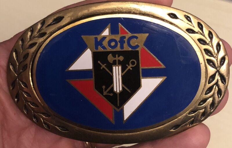 Vintage Knights of Columbus enamel Belt Buckle