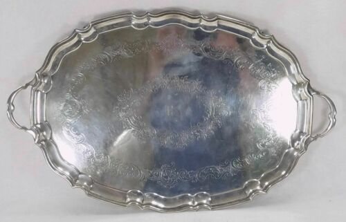 Antique English Birmingham Silverplate Footed Serving Butler Tray Platter