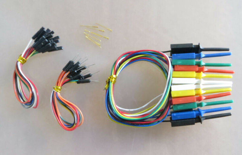 6 pcs mini grabber SMD IC test clip jumper  w 200mm F/F , M/M wires & pin combo