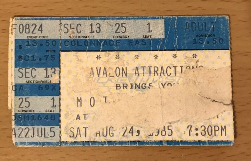 1985 MOTLEY CRUE / LOUDNESS LOS ANGELES CONCERT TICKET STUB THEATRE OF PAIN TOUR