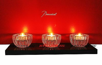 BACCARAT KENZO TAKADA 3 VOTIVE CANDLE HOLDERS ON LACQUER BASE FRANCE 2603527