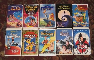 10 Walt Disney Animated and Live Action VHS Video Tapes Excellent Tested