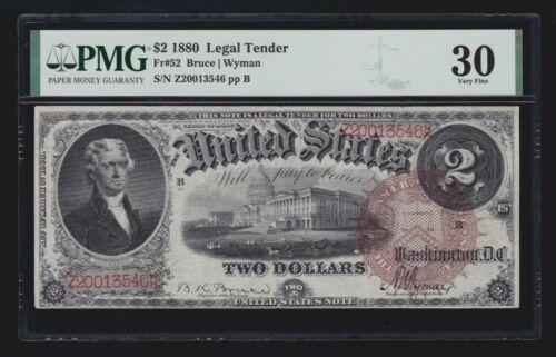 US 1880 $2 Legal Tender w/ Large Brown Seal FR 52 PMG 30 VF (546)