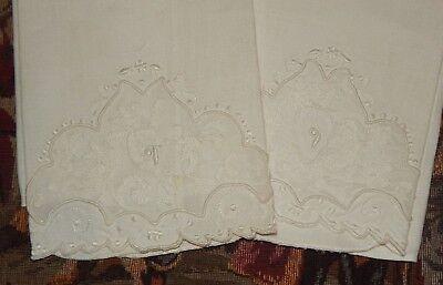 Pair Antique Vintage Madeira Embroidery Lace Trim Linen Napkins / Towels Set  #2