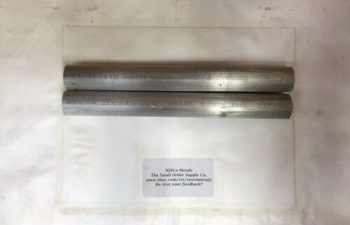 """2 pieces 1-3/8"""" ALUMINUM ROUND ROD 12"""" LONG 6061 T6511 SOLID BAR STOCK Cut New"""