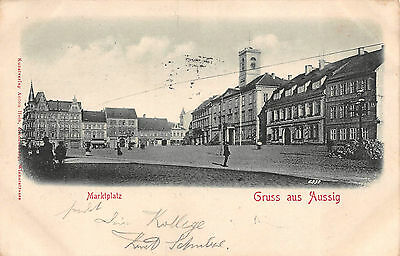 Gruß aus Aussig Marktplatz Geschäfte Postkarte ca. 1910