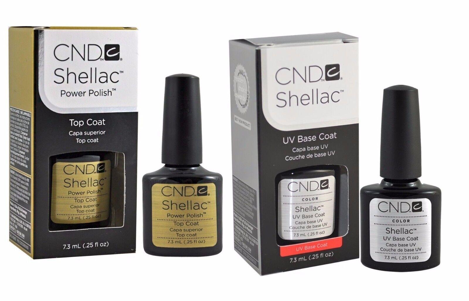 CND Shellac Top and Base Coat Set Soak Off GEL .25 oz Gel Po
