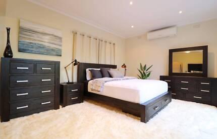 Hardwood Midnight Style 4pc Bedroom Suite (Queen/King) -Brand New