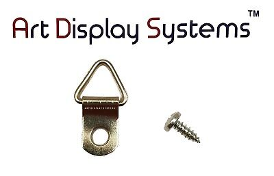 """ADS Picture Frame Triangle Strap D-Ring Hangers (Mini) 100/pk w #4 x 3/8"""" Screws"""