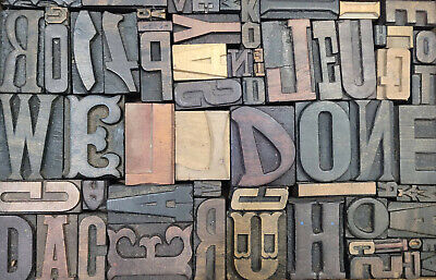 Letterpress Wood Types Collage Welldone 67 Vintage Mixed Wooden Types Tc12