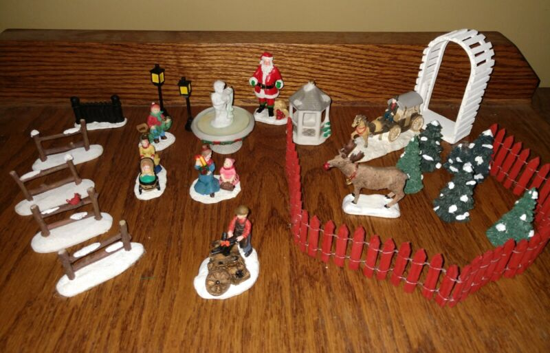 20+ Piece Lot Christmas Village Accessories - figurines, fountain, fence, etc.