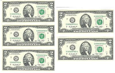 5 Two Dollar Bills - $10 - Uncirculated Consecutive Notes - USPS tracking 60637a