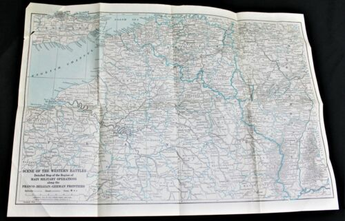 WESTERN BATTLE FRONT & GERMANY CENTRAL EUROPE MAP 1914 WWI LITERARY DIGEST
