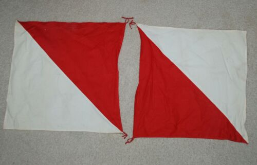 """Pair of 1960s Vintage Girl Scout Semaphore Signal Flags – 17 1/2"""" x 17 1/2"""""""